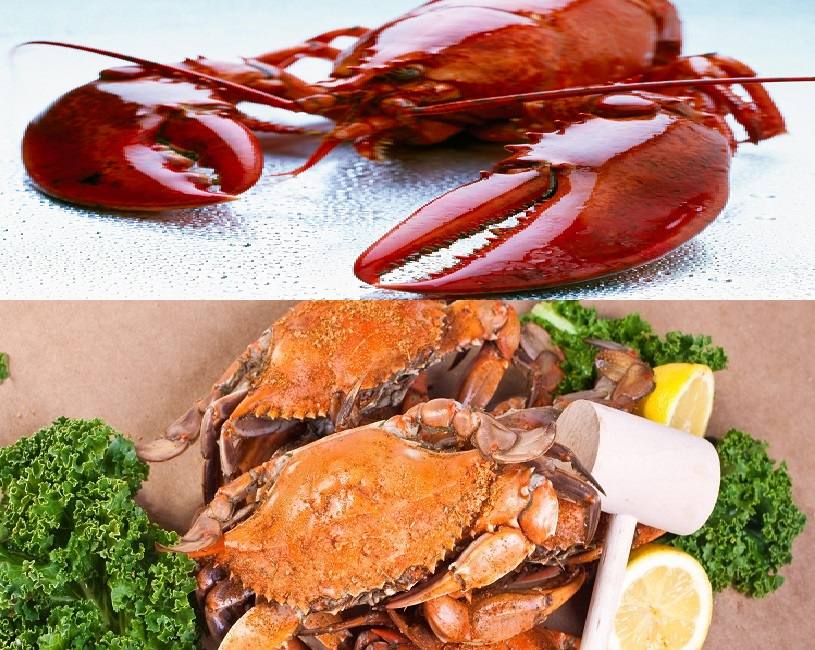 East Coast Crab and Lobster Holiday Dinner- (1) Dozen Large Steamed Blue Crabs 6-6.5 inches- (2) 1-1.15 Steamed Whole Maine Lobsters